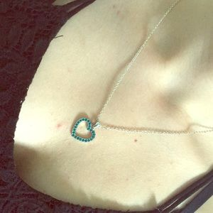 Turquoise Heart Necklace on a Silver Chain